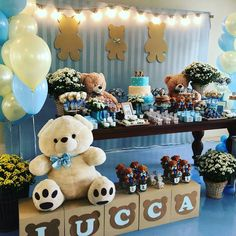 Baby shower table decoration More than 25 fantastic ideas Baby Shower Table Decorations, Baby Shower Centerpieces, Baby Decor, Teddy Bear Party, Teddy Bear Baby Shower, Baby Shower Backdrop, Baby Shower Balloons, Baby Shower Brunch, Baby Boy Shower