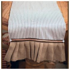 Reversible table runner. Burlap and blue and white ticking. $47.50. Message me for info. The French Market #thefrenchmarket