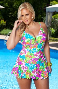 Flower Power - Trendy Plus Size Swimsuits Trendy Plus Size, Plus Size Women, Women's Plus Size Swimwear, Women's Swimwear, Jolie Lingerie, Floral Print Skirt, Swim Dress, Flower Power, Plus Size Fashion