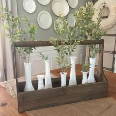 Our best selling Wooden Planter Boxes are so versatile - use them as a table centerpiece filled with foliage, a catch-all for office… Decor, Farmhouse Decor, Glass Decor, Table Decorations, Farmhouse Table, Vintage Farmhouse, Home Decor, Farmhouse Table Centerpieces, Table Centerpieces