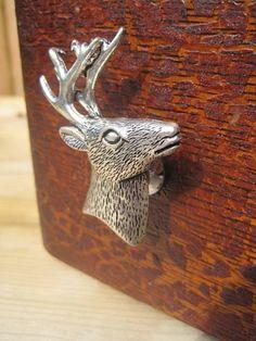 Metal Drawer Knob Deer Head in Silver (MK136)