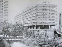 Subject: Barbican, London By: Jovan Sarenac Date: July 2014 Fineliner pens on white paper 90x68.5cm