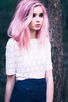 pink-purple hair color. I wish bleach wouldn't ruin my hair.. I want this!