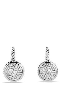 David Yurman Pavé Drop Earrings with Diamonds available at #Nordstrom=2,800.<3 Sterling silver. Pavé diamonds, 1.01 total carat weight. 23mm long. By David Yurman; imported