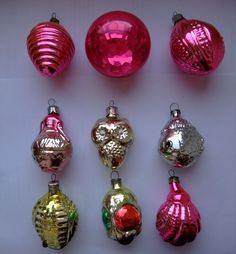 Set of 8 vintage new year christmas tree toy glass  USSR  1960-1970