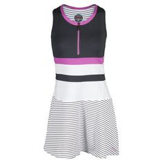 Bolle Women's All That Jazz Tennis Dress-- super cute striped pattern, colorblock detail, and half zipper! #tennisexpress #bolle #tennis #dress