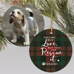 Celebrate the love for your rescue pup this Christmas by giving them a memento on the Christmas tree with a cute personalized Christmas ornament complete with their photo #personalizedChristmasornament #petornaments #rescuedogornaments #petlovergiftideas #Christmasgiftideas
