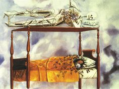 """""""El Sueño (La Cama),"""" 1940. Oil on canvas. #fridakahlo """"In real life Frida did have a papier-mâché skeleton (Juda) on the canopy of her bed. Diego called it """"Frida's lover"""" but Frida said it was just an amusing reminder of mortality. Frida and the skeleton both lie on their side with two pillows under their head. While Frida sleeps the skeleton is awake and watching. The bed appears to ascend into the clouds and the embroidered vines on her bedspread seem to come to life and begin to…"""