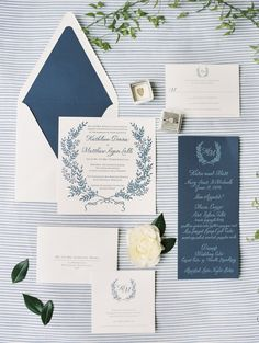 Nautical inspired wedding invitation suite: Photography : Krista A. Jones Photography Read More on SMP: http://www.stylemepretty.com/2016/09/08/blue-white-nautical-maryland-wedding/