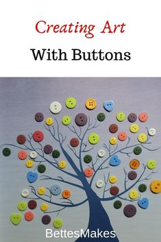 When you combine background designs and button imagination, you will end up with some amazing art for your walls! Just look at this amazing button tree! You can use your Cricut or other cutting machine for intricate cuts. Add some buttons and away you go! The step-by-step directions are included in the post along with FREE template! #kidscraft #kids #buttonartoncanvas #buttonartideas #buttoncrafts