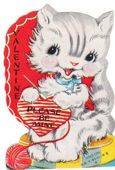 Vintage Valentine Card Knitting Cat Die Cut for Children Kitten A Meri Card | eBay