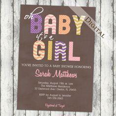 Girls baby shower invitation modern chevron by JoyPribishDesigns, $15.00