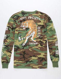 RIOT SOCIETY Tiger Camo Mens T-Shirt - CAGRN - 317390533 | Tillys