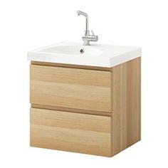 GODMORGON / EDEBOVIKEN Skab til vask med 2 skuffer - egetræsmønster med hvid bejdse - IKEA