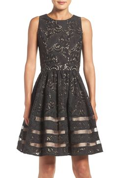 Main Image - Eliza J Cotton Blend Fit & Flare Dress (Regular & Petite)