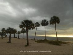 A Dark Stormy Night at Sunset Beach in Tarpon Springs, #Florida. Lots of palm trees right on the #beach make for some great photo opportunities.