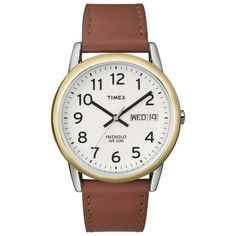 Timex Men's Easy Reader Brown Leather-Strap Quartz Watch   Overstock.com Shopping - The Best Deals on Timex Men's Watches