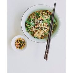 Asparagus + Dill Rice Noodle Salad w/ Spring Onion Kimchi... For all my Northern Hemisphere friends!…