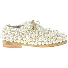 Anouki Cream Pearl Embellished Brogues (11.685 CZK) ❤ liked on Polyvore featuring shoes, oxfords, flats, cream, decorating shoes, balmoral oxfords, embellished shoes, pearl shoes and beaded shoes