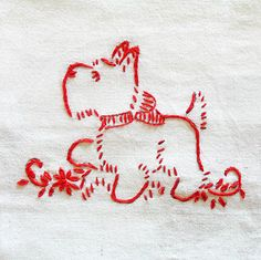 Scottie Dog in Redwork . from Sarah's Hand Embroidery Tutorials . Hand Embroidery Tutorial, Hand Embroidery Stitches, Crewel Embroidery, Hand Embroidery Designs, Vintage Embroidery, Embroidery Applique, Cross Stitch Embroidery, Machine Embroidery, Embroidery Ideas