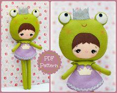 Princess frog doll. Plush Doll Pattern, Softie Pattern, Soft felt Toy Pattern. via Etsy