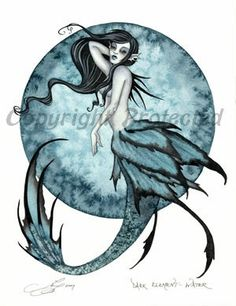 amy brown mermaid pictures | Amy Brown Mermaid Print Goth Dark Element Water Ocean Moon Teal Blue ...