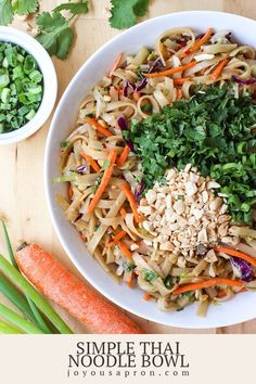 Simple Thai Noodle Bowl - a quick Asian noodle dish, perfect for an easy weeknight dinner under 30 minutes! It is a mouthful of bold flavors, with a slight spicy kick. Save well as leftovers, and great for meal prep! Make it vegetarian or add chicken if desire! #noodlebowl #bowlrecipe #noodle #thai #asian #asian #Asianfood #healthy #light #joyousapron #recipe