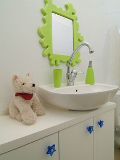 Fun Kids Bathroom With Neon Green Funky Mirror Small Chic Elegant Mirrors Make Bathrooms Look Ger