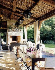 Ferme d'Aix-en-Provence - Beautiful Veranda for Al Fresco Dining. Outdoor Rooms, Outdoor Dining, Outdoor Decor, Dining Area, Patio Dining, Dining Room, Outdoor Patios, Outdoor Kitchens, Dining Table