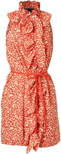 Marc Jacobs Red Belted Floral Dress