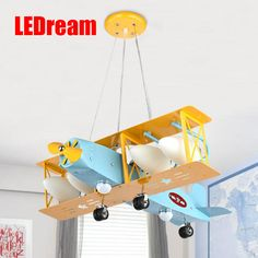 Super bright air plane droplight creative cartoon character boy bedroom of children room the lamps  that shield an eye #Affiliate
