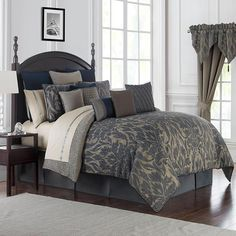 Notre Dame 22 Piece California King Comforter Set - Bed in a Bag - Bed & Bath - Macy's King Duvet Cover Sets, Queen Comforter Sets, Bedding Sets, Duvet Covers, Taupe Comforter, Console, Waterford Bedding, Bed In A Bag, Bed Spreads