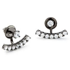Constellations collection vintage black rhodium finish curved bar swing earring with CZ stones. Also in yellow gold and white rhodium over sterling silver. Women Accessories, Jewelry Accessories, Silver Earrings, Stud Earrings, Glitz And Glam, Black Rhodium, Black Crystals, Ear Studs, Body Jewelry