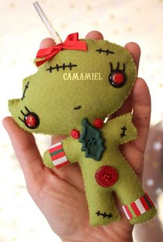 Zombie Gingerbread Felt Ornament. Too cute! I found this hilarious