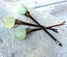 Green stone hair pins. by Crushed Cameo