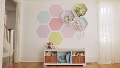 Honeycomb Wall Paint with DIY honeycomb shelves. So cute for a kids room!!
