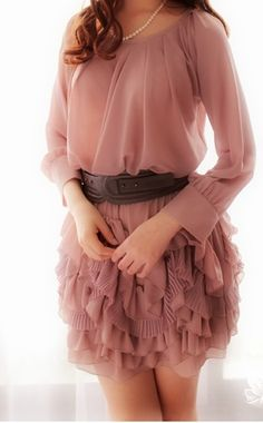 Candy Pink Dress comes alive with a brown belt because adding a distinguishing detail is always a winner Passion For Fashion, Love Fashion, Korean Fashion, Fashion Beauty, Womens Fashion, High Fashion Dresses, Casual Dresses, Prom Dresses, Pretty Dresses