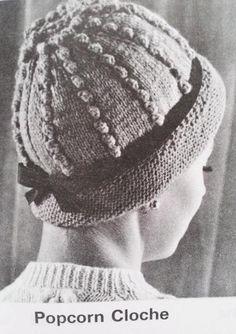Items similar to Knit Hat Pattern - PDF Vintage Pattern, Knitted Cloche Pattern on Etsy Motif Vintage, Vintage Crochet Patterns, Vintage Knitting, Popcorn, Knitted Hats, Crochet Hats, Sweater Knitting Patterns, Craft Patterns, Digital Pattern