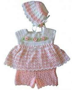 Crocheted outfit for baby girl