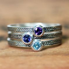 Handmade custom birthstone stack rings, mothers rings, stackable gemstone rings. Personalized and made in my studio in NYC.