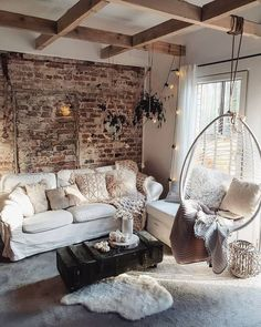 Cozy living room design with hanging chair and exposed brick and exposed beams Elegant Living Room, Cozy Living Rooms, Living Room Interior, Home And Living, Living Room Brick Wall, Brick Interior, Bedroom With Brick Wall, Kitchen With Living Room, Living Room Vintage