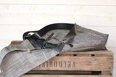 Waterproof  Messenger bag in  black ecru linen by ikabags