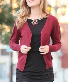 7057859e031ef 42POPS Marsala Button V-Neck Cardigan - Plus by 42POPS  zulily  zulilyfinds  Marsala