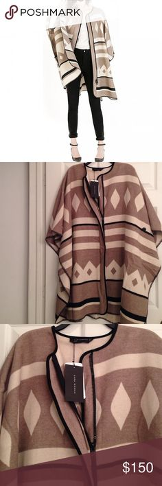 ZARA BEIGE CREAM & BLACK PONCHO Fabulous poncho from Zara!  Brand new. Never worn. One size. Zara Jackets & Coats
