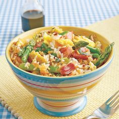 Fried Rice with Ham and Asparagus