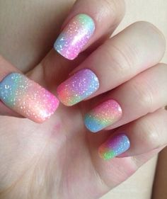 Nail art is an art of creativity. In nail art, finger and toe nails are designed by colorful picture Rainbow Nail Art Designs, Ombre Nail Designs, Cute Nail Designs, Pretty Designs, Unicorn Nails Designs, Unicorn Nail Art, Rainbow Nails, Gradient Nails, Gel Nails