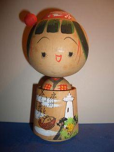 "Japanese Vintage Cute Girl Kokeshi Doll Hand Painted Kimono Kanzashi 4 75"" | eBay"