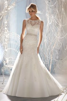 2013 #Wedding #Dresses #Trumpet/Mermaid Scoop Sweep/Brush Train Organza Applique