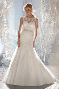 2013 #Wedding #Dresses #Trumpet/Mermaid Scoop Sweep/Brush Train Organza Applique