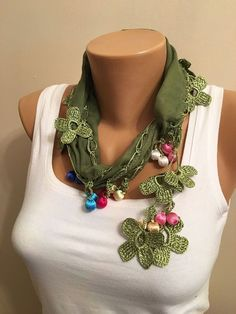 Turkish Oya Scarf Green Crochet Edge Scarf Women Fashion